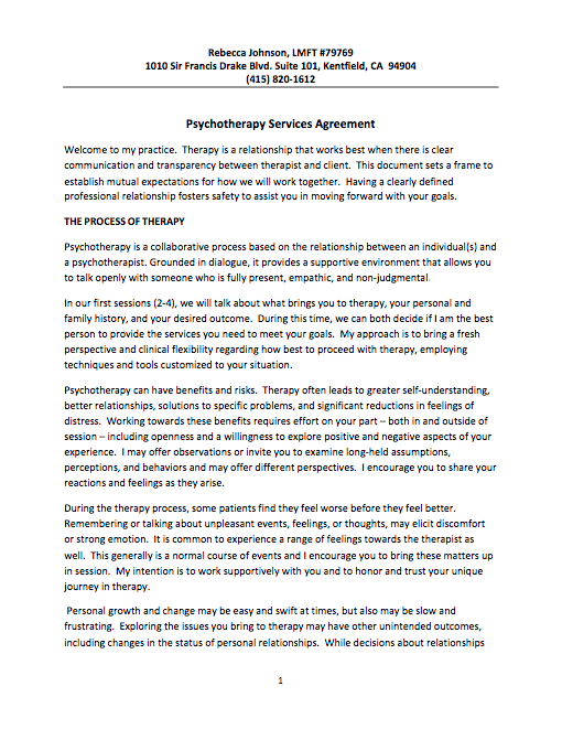 Psychotherapy Services Agreement – Adult